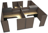 """Office in an Instant 4-Pack 8X8 Fabric 67""""H Cubicle Setup in Java"""