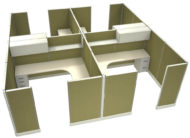 """Office in an Instant 4-Pack 8X8 Fabric 67""""H Cubicle Setup in Stem"""