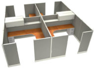 """Office in an Instant 4-Pack 8X8 Fabric 67""""H Cubicle Setup in Sterling"""