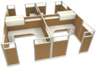 """Office in an Instant 4-Pack 8X8 Glass 67""""H Cubicle Set in Caramel"""