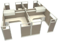 """Office in an Instant 4-Pack 8X8 Glass 67""""H Cubicle Set in Cloud"""