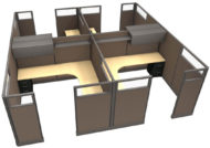 """Office in an Instant 4-Pack 8X8 Glass 67""""H Cubicle Set in Java"""
