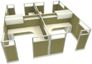 """Office in an Instant 4-Pack 8X8 Glass 67""""H Cubicle Set in Stem"""