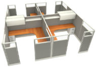 """Office in an Instant 4-Pack 8X8 Glass 67""""H Cubicle Set in Sterling"""