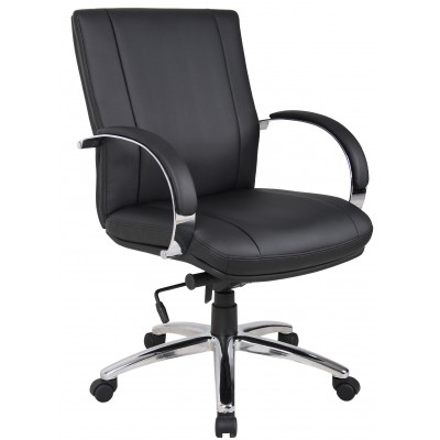 Aaria Collection Elektra Mid-Back Chair/ Chrome Base / Black Upholstery / Knee Tilt-0