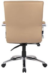 Aaria Collection Elektra Mid-Back Chair/ Chrome Base / Tan Upholstery / Knee Tilt-23804