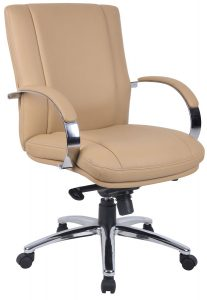 Aaria Collection Elektra Mid-Back Chair/ Chrome Base / Tan Upholstery / Knee Tilt-0