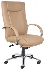 Aaria Collection Elektra High-Back Chair/ Chrome Base / Tan Upholstery-0