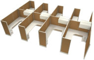 """Office in an Instant 8-Pack 6x8 67""""H Cubicle Set - Caramel"""
