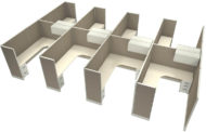 """Office in an Instant 8-Pack 6x8 67""""H Cubicle Set - Cloud"""