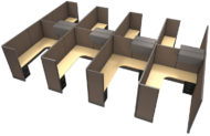 """Office in an Instant 8-Pack 6x8 53""""H Cubicle Set - Java"""