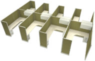 """Office in an Instant 8-Pack 6x8 67""""H Cubicle Set - Stem"""
