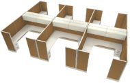"Office in an Instant 6-Pack 8x8 Double Wing 67""H Cubicle Set - Caramel"