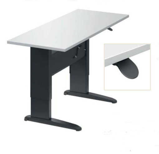 sit to stand manual height adjustable table with inset