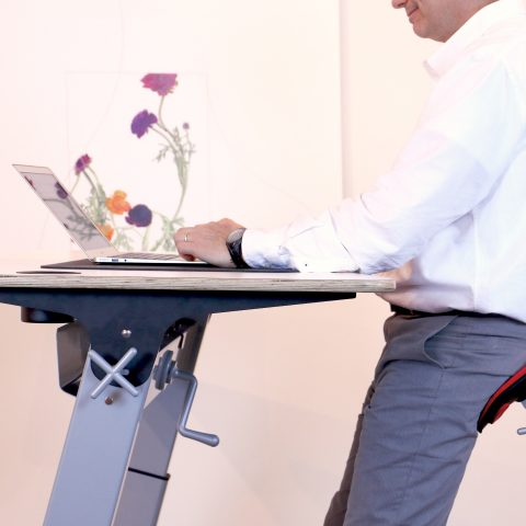 Desk with a person
