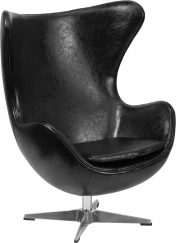 Black Leather Swivel Egg Lounge Chair - Main
