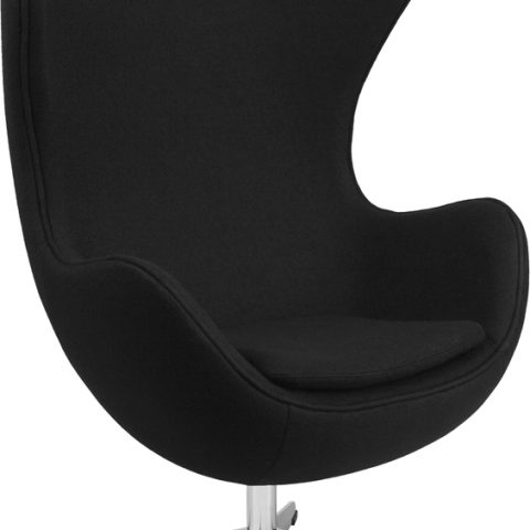 Black Fabric Swivel Egg Lounge Chair - Main