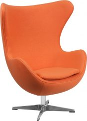 Orange Fabric Swivel Egg Lounge Chair - Main