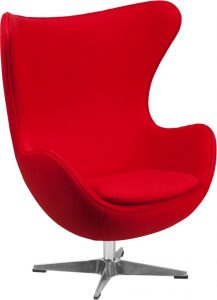 Red Fabric Egg Lounge Chair - Main