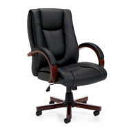 Luxhide Executive Chair with Wood Arms and Base